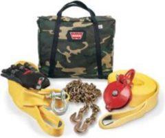 Beige Warn Recovery set Army - Groot - voor lieren tot 5443kg - Warn 29460 - Compleet met boomband, treklint, d-sluiting, snatch block en handschoenen