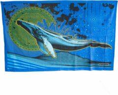 Blauwe Spiru Authentiek Wandkleed Katoen Walvis (215 x 135 cm)
