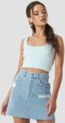 NA-KD Distressed Denim Skirt - Blue