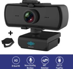 Zwarte Maccy Webcam - 4 MP - Webcam met Microfoon en Tripod! - 2K - 30FPS - 2560x1440 - Webcams - Gaming - Webcam voor PC - Plug&Play - Tripod - Webcam cover - Laptop Camera - Webcam voor Computer - Windows/IO - Teams - Zoom - USB 2.0 - Werk & thuis