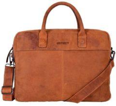 Bruine DSTRCT 076520 leren businesstas voor 15.6 inch laptop en tablet cognac