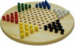 HOT Games Halma-ster hout 28 cm met gekleurde pionnen