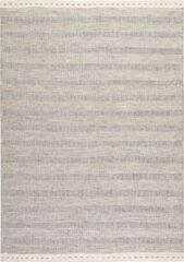 Decor24-OB Handgeweven laagpolig vloerkleed Jaipur - Wol - Zilver - 200x290 cm