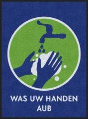 Blauwe MatStyles Vloerkleed Tapijt Message Mat - Was uw Handen AUB - 115x85 - COVID-19 - Wasbaar