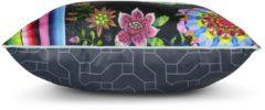 Gevuld Kussen Hip Polyester Nr.6345 - Multi - 1-48x48cm - Bloemen Maat: 1-48x48cm