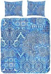 Witte Dekbedovertrek Janina - 2-persoons (200 x 200/220 cm) - Katoensatijn - Blauw   Meerkleurig   Multi   Multicolor - ZouZou