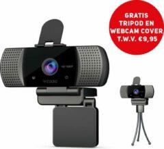 Zwarte Webbie Webcam Voor PC- Webcam Met Microfoon - Webcams – Thuiswerken - Full HD 1080P Voor Helder Beeld en Geluid – Geschikt voor Windows en Mac - Inclusief Gratis Tripod en Webcam Cover