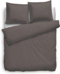 Witte Heckettlane Dekbedovertrek Uni Puntini - Bruin - Lits-jumeaux XL (260 x 200/220 cm) - Katoensatijn - Bruin - Heckett Lane