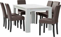 En.casa Eetkamerset Nora eethoek 7-delig tafel en stoelen wit en bruin