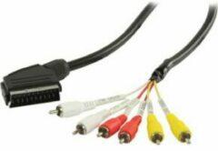Zwarte Valueline Scart - Composiet 3RCA in/uit kabel - 2 meter
