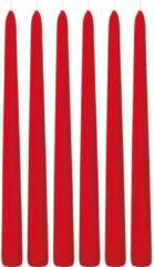 Trend Candles 6x Rode dinerkaarsen 30 cm 13 branduren - Geurloze kaarsen - Tafelkaarsen/kandelaarkaarsen