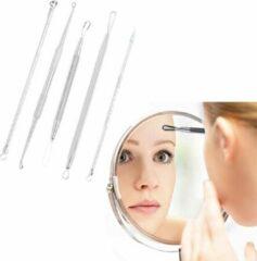 Roestvrijstalen Comedonenlepels 5 stuks in handige opbergetui - puistjes - acne - mee eters verwijderen - Heble