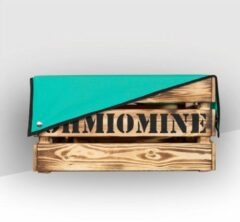Ohmiomine Transporter Fietskrat Gebrand Hout inclusief Turquoise Afdekhoes