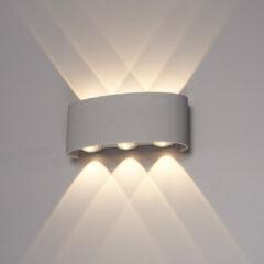 HOFTRONIC™ Dimbare LED Wandlamp Grijs - 6 Watt - Tulsa - 3000K - Tweezijdig oplichtend - IP54 Waterbestendig