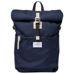 Beige Sandqvist Ilon Navy with natural leather rugzak SQA1498 blauw/navy duurzaam laptop 13 inch