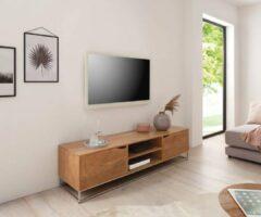 Naturelkleurige DELIFE Tv-meubel Loca acacia natuur 160x40x40 cm massief