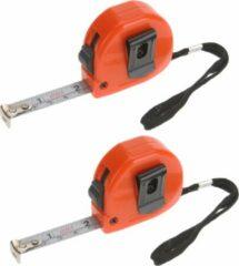 Merkloos / Sans marque 2x stuks rolmaten / meetlinten oranje - 13 mm x 2 m - meetgereedschap - klusbenodigheden - met ophanglus, vergrendelknop en riemclip - rolmaat / lintmeters / meetlinten