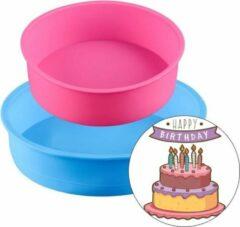 Blauwe Lynn's Siliconen bakvorm - Rond - Set van 2 - Taart - Cake - 22 cm & 17 cm - Vaatwasser geschikt - Willekeurige kleur