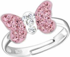 Roze La Rosa Princesa - Vlinder Ring - Zilver - Kristal - One-size