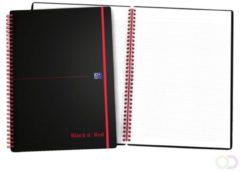 Zwarte Oxford BLACK N' RED spiraalblok kunststof, 140 bladzijden ft A4, geruit 5 mm