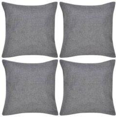 Antraciet-grijze VidaXL Kussenhoezen linnen look 50 x 50 cm antraciet 4 stuks