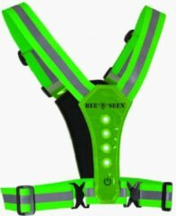 Bee Seen – groen Harness USB - Verlichting - Led Harness - USB - LED - one size - Hardloopvest - Jogging reflectie vest - Hardloopverlichting