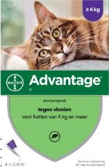 Advantage Kat 80 4 pip - Anti vlooien en tekenmiddel - 0.8 ml > 4 Kg