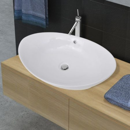 Immagine di Bianchi VidaXL Lavello ovale in ceramica di lusso con troppopieno 59 x 38,5 cm