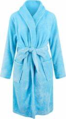 Relax Company Unisex badjas fleece - sjaalkraag - lichtblauw - maat XL/XXL