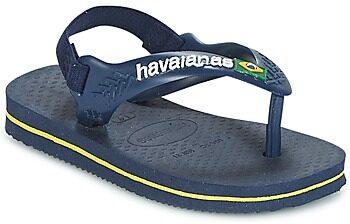 Afbeelding van Blauwe Havaianas Toddler's Brasil Logo Sandals - Navy Blue/Citric Yellow - EU 25-26/UK 8-9 Toddler - Blue