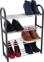 MaxiMondo Schoenenrek - 4 Lagen - Ruimtebesparend - Voor 8 Paar Schoenen - Zilver/ Zwart