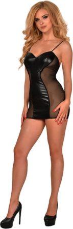 Afbeelding van Zwarte Guilty Pleasure Fetish Wear GP WET LOOK SPAGHETTI STRAP MINI DRESS