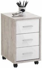 Zandkleurige FD Furniture Ladeblok Puma 3 lades - Zand eiken met hoogglans wit