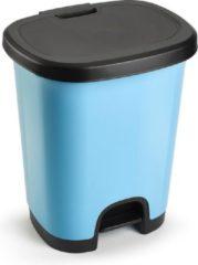 Forte Plastics Kunststof afvalemmers/vuilnisemmers/pedaalemmers in het lichtblauw/zwart van 27 liter met deksel en pedaal. 38 x 32 x 45 cm.