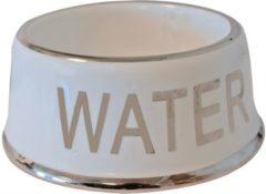 Witte Boon Voerbak Hond Water Wit/Zilver - 18 CM