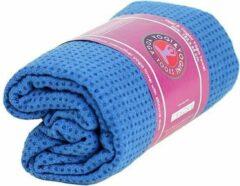 Yogi & Yogini Yoga handdoek siliconen antislip blauw - 183x65 - Silicoon - 500 - Blauw