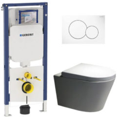 Douche Concurrent Geberit UP720 Toiletset - Inbouw WC Hangtoilet Wandcloset Rimfree - Saturna Sigma-01 Wit