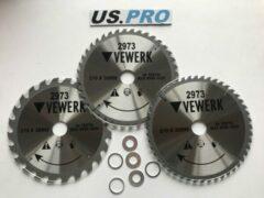 US.PRO Tools by Bergen TCT cirkelzaagblad 210 mm 3-delig 24 + 40 + 48 tands