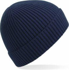 Beechfield Gebreide Ribbed Beanie wintermuts in het navy blauw voor volwassenen - Damesmutsen / herenmutsen - 97% polyacryl en Elastaan