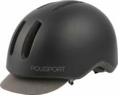 Grijze Polisport Fietshelm Commuter Led 290 Gram Abs Zwart Mt 54-58 Cm