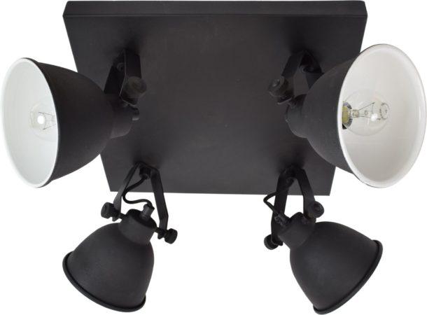Afbeelding van Urban Interiors Industrial 4 lichts Plafondspot Zwart - Stelbaar - 33x33x20