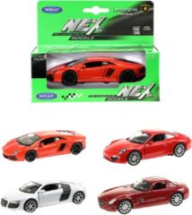 Rode Welly Supercar Collection in vensterdoos 4-ass Lamborghini Aventador LP700-4 AUDI R8 V10 PORSCHE 911 (991) CARRERA S Mercedes SLS AMG