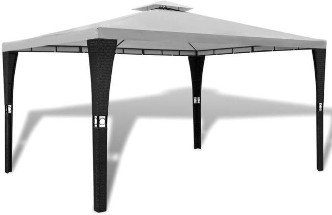 Afbeelding van Creme witte VidaXL Poly rattan paviljoen met crémewit dak 3 x 4 m