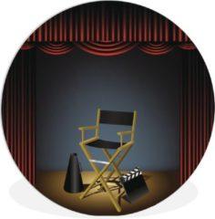 WallCircle Wandcirkel Hollywood illustratie - Een illustratie van een stoel van de regisseur in Hollywood - ⌀ 30 cm - rond schilderij - fotoprint op kunststof (forex) muurcirkel / wooncirkel / (wanddecoratie)