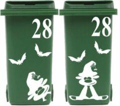Witte Rosami Decoratiestickers 8 delige set Kliko container vleermuis & halloweenbeest + huisnummer | Rosami