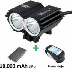Zwarte SolarStorm X2 set - USB MTB/race LED koplamp EXTREEM veel licht met 2x CREE T6 LED - met 10.000 mAh LiPo Powerbank en handig frametasje
