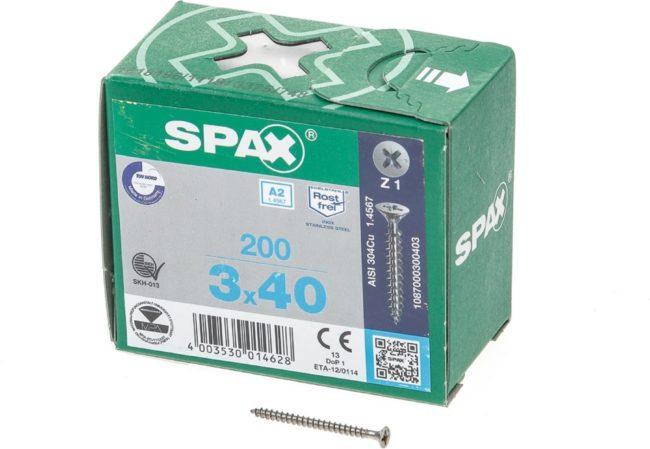 Afbeelding van Roestvrijstalen Spax Spaanplaatschroef platverzonken kop RVS pozidriv 3.0x40mm (per 200 stuks)