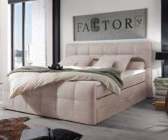 DeLife Bett Amarillo Beige 180x200 Strukturstoff Topper Federkern Bettkasten Boxspringbett