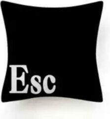 Kussenhoes computer - escape zwart - Black and White - Sierkussen - 45x45 cm