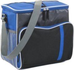 Merkloos / Sans marque Grote koeltas XL blauw/zwart met verstelbare band - 27 liter - Koeltassen voor onderweg/op het strand